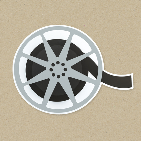 Movie reel icon isolated