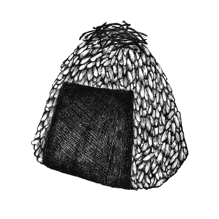 Hand drawn onigiri rice ball