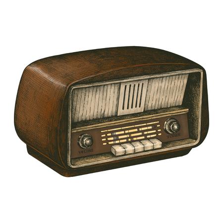 Hand drawn retro wooden radio