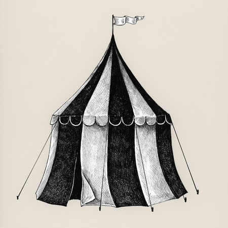 Hand drawn circus tent isolated on background Imagens