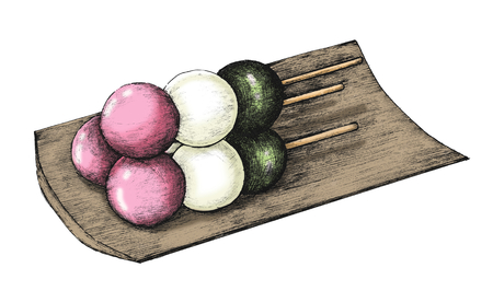 Hand drawn dango Japanese dumpling Stock Photo - 109441946