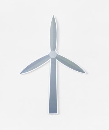 Ecology wind turbine icon on isolated