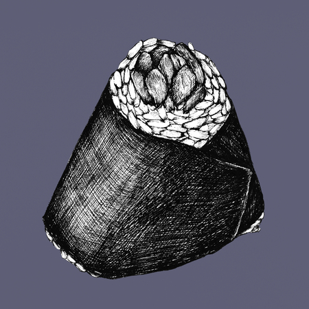 Hand drawn onigiri Japanese food