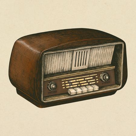 Radio en bois rétro dessiné à la main