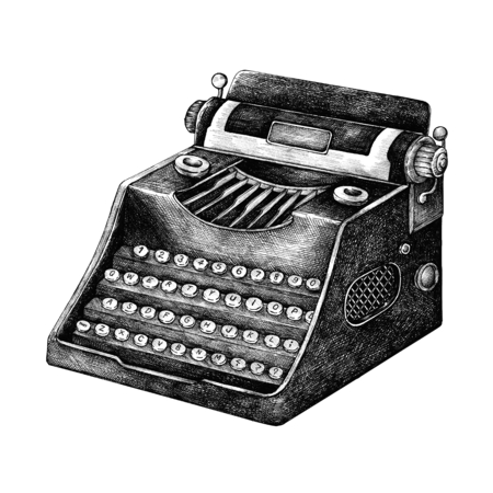 Hand drawn typewriter isolated on background