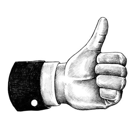 Hand drawn thumbs up hand Banco de Imagens - 109443811