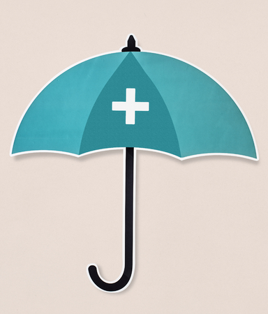 Blue protection umbrella icon isolated