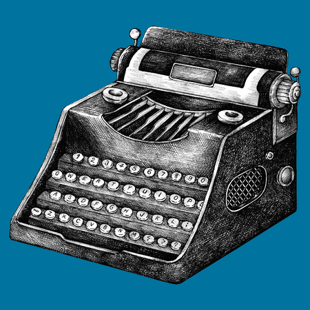 Hand drawn typewriter isolated on background