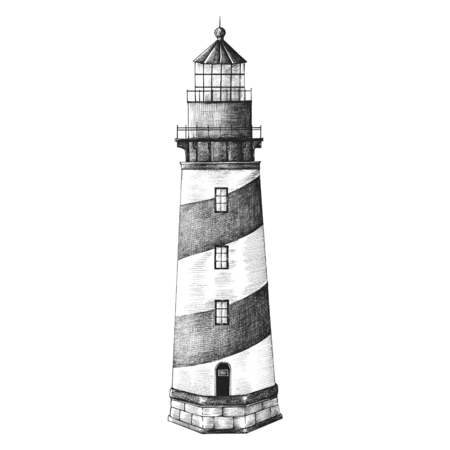 Old lighthouse vintage style illustration Banco de Imagens