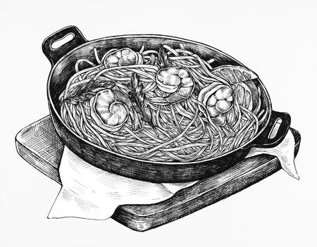 Hand-drawn spaghetti marinara