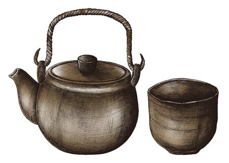 Hand drawn green tea set Stock Photo