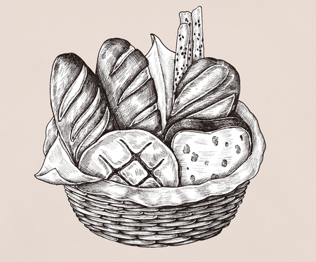 Hand-drawn bread basket isolated 写真素材