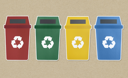 Icon set of trash with recycle symbol Stock Photo