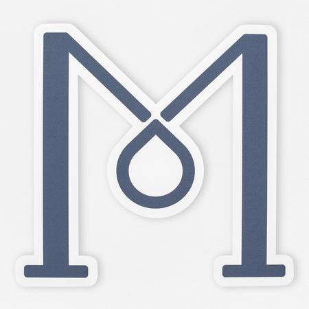 English alphabet letter M icon isolated