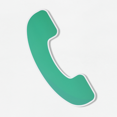 Green telephone illustration in vector icon Stock Photo