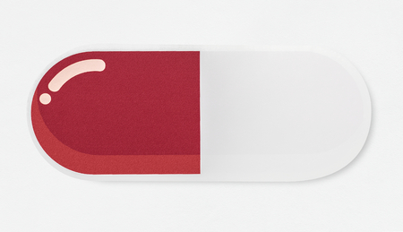 Red and white pill icon isolated