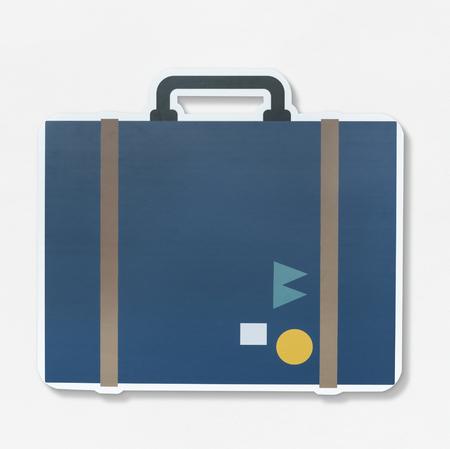 Vintage traveling suitcase illustration icon Stock Photo