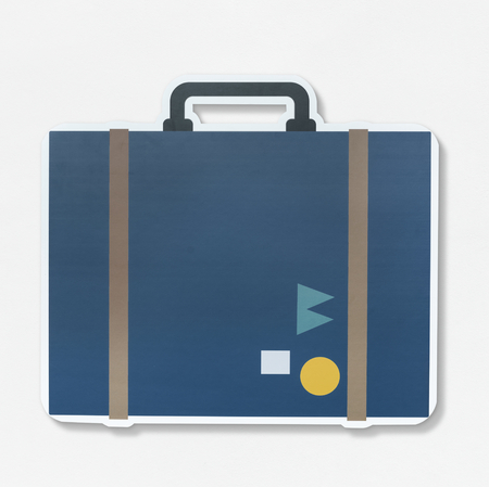 Vintage traveling suitcase illustration icon 版權商用圖片