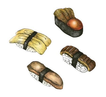Hand drawn sushi set Japanese food Imagens - 109445172