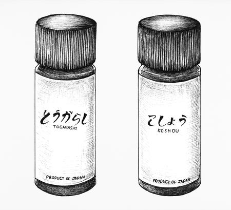 Hand drawn Japanese style seasoning Фото со стока