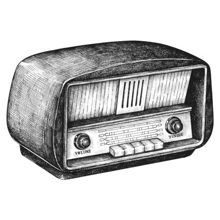 Hand drawn retro wooden radio Banque d'images - 109445247