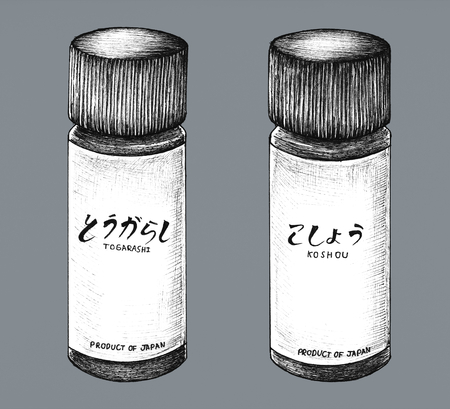 Hand drawn Japanese style seasoning 스톡 콘텐츠