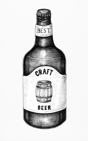 Hand-drawn craft beer bottle