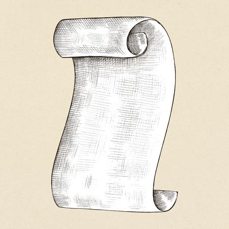 Hand drawn parchment paper roll Archivio Fotografico - 109445266