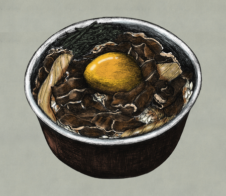 Hand drawn gyudon Japanese beef bowl 写真素材