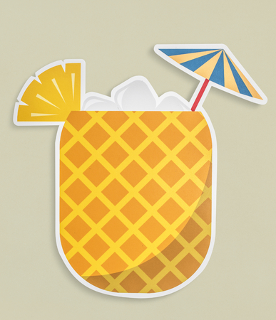 Fresh pineapple juice summer drink icon isolated Stock Photo