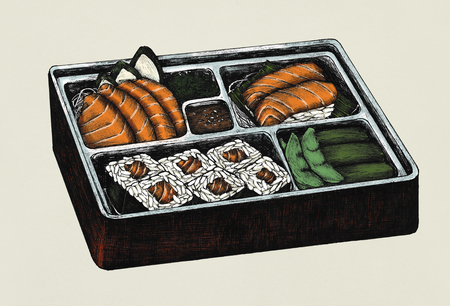 Hand drawn salmon sushi and sashimi bento Stock Photo