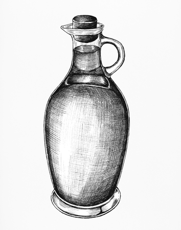 Hand drawn pitcher of olive oil Banco de Imagens