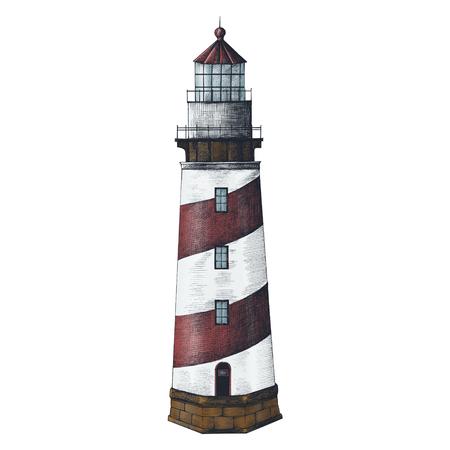 Old lighthouse vintage style illustration Banco de Imagens