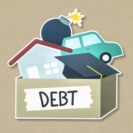 Illustration with debt concept Stock Photo
