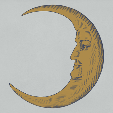Hand drawn moon with face Banque d'images