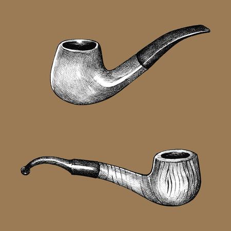 Hand drawn tobacco wooden pipes Reklamní fotografie - 109445310
