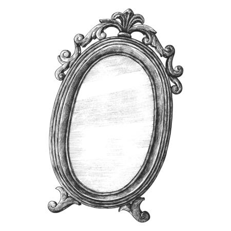 Antique wall mirror old style illustration Foto de archivo - 109445312