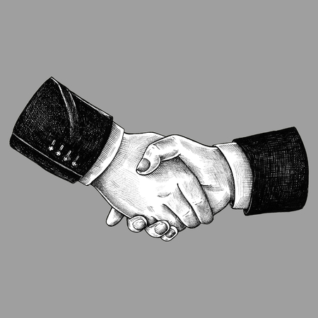 Hand drawn shaking hands together Stok Fotoğraf - 109445316