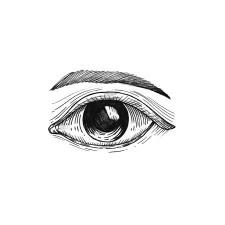 Hand drawn eye isolated on white background