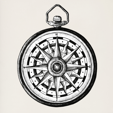 Hand drawn compass isolated on background Stock Photo
