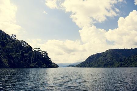 Beautiful view of a lake and blue sky Banco de Imagens