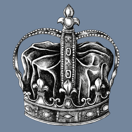 Hand drawn royal crown isolated on background Stock fotó