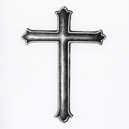 Hand drawn crucifix isolated on background