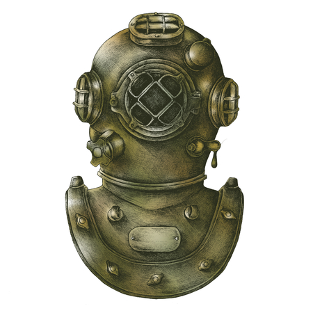 Diving gear vintage style illustration Stok Fotoğraf