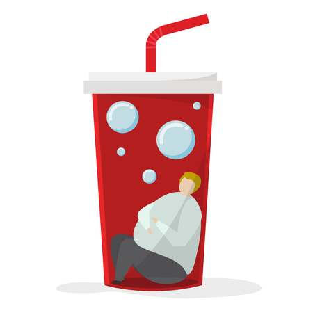 Obese person inside soft drink cup