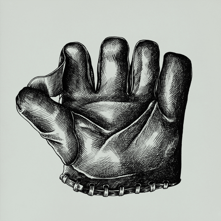 Hand drawn sport glove isolated on background