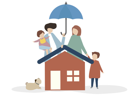 Illustration of a happy family Banque d'images - 109372299