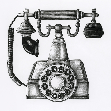 Hand drawn retro line telephone isolated on background Banco de Imagens