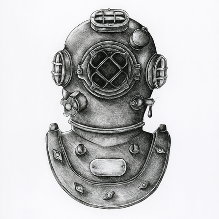 Hand drawn diving helmet isolated on background