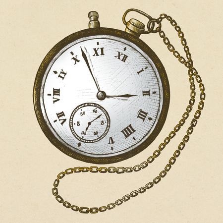 Pocket watch vintage style illustration